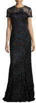 David Meister Short-Sleeve Floral Embroidered Illusion Gown, Navy/Black