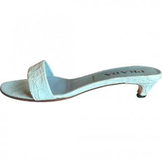Prada Blue Crocodile Sandals