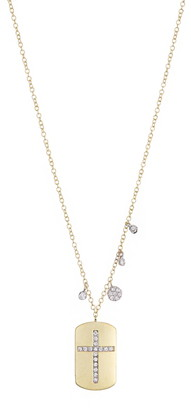 Meira T Brushed 14K Yellow Gold Pave Diamond Cross Rectangle Pendant Necklace