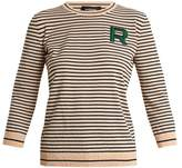 Rochas Striped crew-neck logo knit sweater