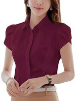 Double Plus Open DPO Women's Cotton Collared Button Down Short Sleeve Shirt