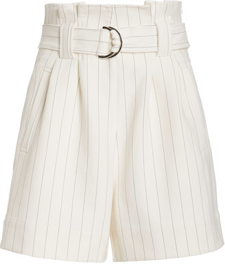 Ganni Belted Checked Woven Shorts