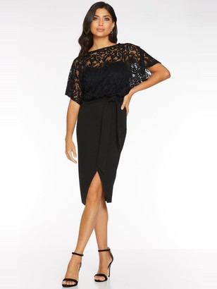 Quiz Lace Batwing Top With Sweetheart Lining Wrap Dress