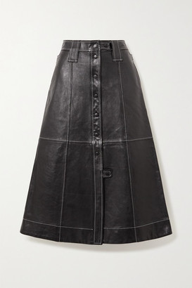 Ganni Topstitched Leather Midi Skirt - Black