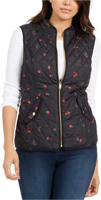 Charter Club Petite Quilted Floral-Print Zipper Vest