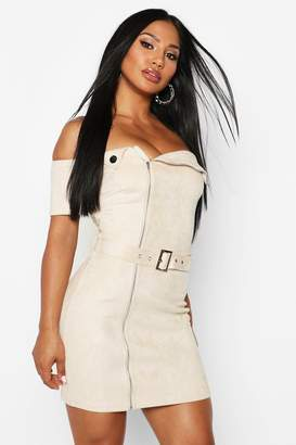 boohoo Faux Suede Biker Belted Mini Dress