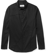Solid Homme - Slim-fit Panelled Stretch-cotton Poplin Shirt