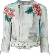 Pihakapi - floral print biker jacket - women - Calf Leather - M