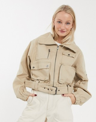 ASOS DESIGN denim multi pocket utility jacket
