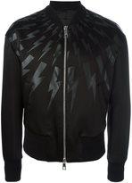 Neil Barrett lightning bolt print bomber jacket - men - Cotton/Polyamide/Acetate/Cupro - XS