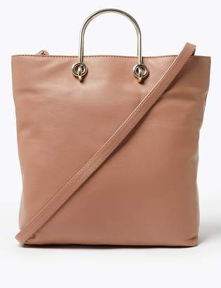 Marks and Spencer Leather Metal Grab Handle Tote Bag