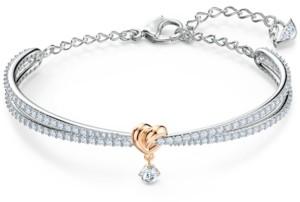 Swarovski Two-Tone Heart Knot & Crystal Split Bangle Bracelet