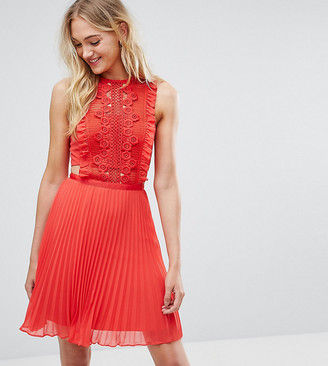 Asos Tall TALL Lace Pinafore Pleated Mini Dress-Red