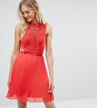 Asos TALL Lace Pinafore Pleated Mini Dress