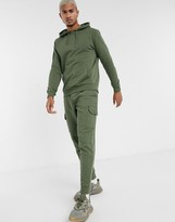 Asos Design DESIGN tracksuit with hoodie and tapered cargo sweatpants