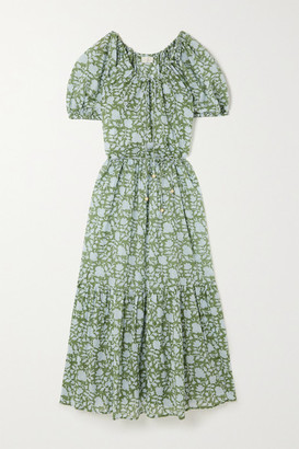 HANNAH ARTWEAR Net Sustain Lotus Belted Tiered Printed Cotton Maxi Dress - Green