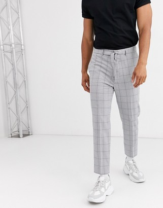 Asos Design DESIGN tapered trousers in grey check with tie belt