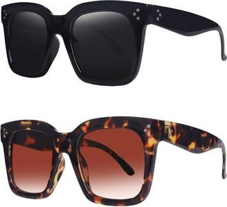 TAOTAOQI Vintage Women Oversized Sunglasses Designer Luxury Square Sun Glasses UV400 Protection Flat Lens Size: XL-large