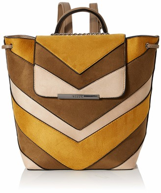 BESSIE LONDON Womens Suede Colour Block Drawstring Backpack Backpack Handbag Black (Black) 13x28x30 cm (W x H x L)