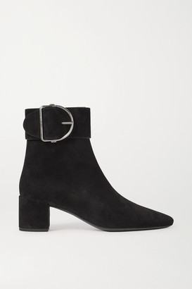 Saint Laurent Charlie Buckled Suede Ankle Boots - Black
