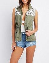Charlotte Russe Crochet-Trim Utility Vest