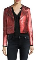 IRO Axelle Distressed Leather Moto Jacket