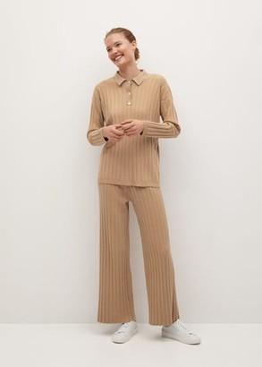 MANGO Ribbed polo style sweater beige - XS - Women
