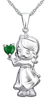 Precious Moments .006 ct. t.w. Diamond and Sterling Silver Birthstone Heart Pendant