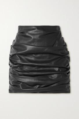 Dolce & Gabbana Ruched Leather Mini Skirt - Black