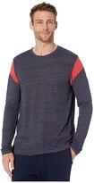 Alternative Long Sleeve Shoulder Stripe Tee (Eco True Currant/Eco Ivory) Men's T Shirt