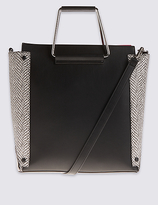 M&S Collection Faux Leather Metal Handle Tote Bag