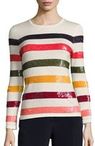 Carolina Herrera Sequined Rainbow Knit Sweater