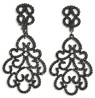 Kenneth Jay Lane Jet Filigree Crystal Clip-On Earrings