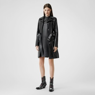 Burberry Studded Crinkled Leather Trench Coat