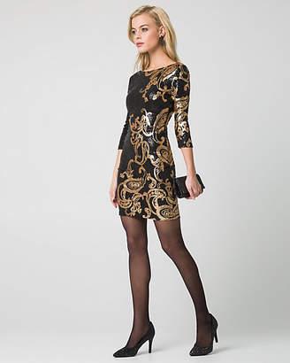 Le Château Paisley Print & Sequin Cocktail Dress