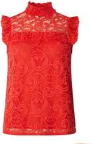 Dorothy Perkins Coral Sleeveless Lace Top