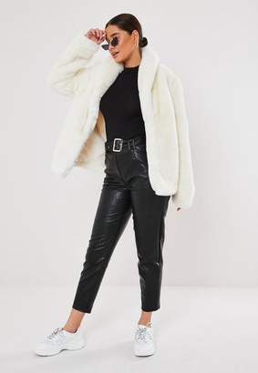 Missguided White Shawl Collar Faux Fur Coat