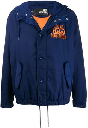 Love Moschino embroidered logo hooded jacket