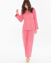Soma Intimates Cotton Notch-Collar Pajama Set Pink Nectar