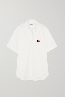 Balenciaga Oversized Embroidered Cotton-poplin Shirt - White