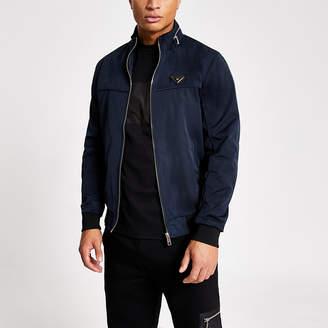 River Island Navy MCMLX zip front racer jacket