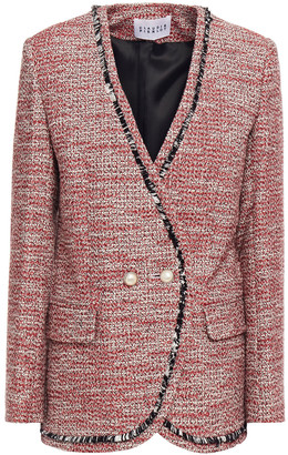 Claudie Pierlot Double-breasted Frayed Cotton-blend Tweed Jacket
