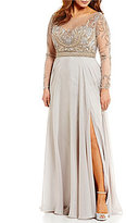 Terani Couture Plus Boat Neck Long Sleeve Illusion Beaded Bodice Gown