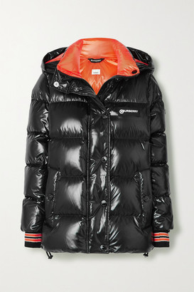 Burberry Hooded Quilted Glossed-shell Down Jacket - Black