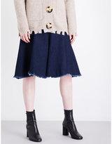 Mo&Co. Raw-hem A-line denim skirt