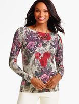 Talbots Rose Bouquet Merino Sweater