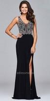 Faviana Damask Halter Beaded Illusion Prom Dress