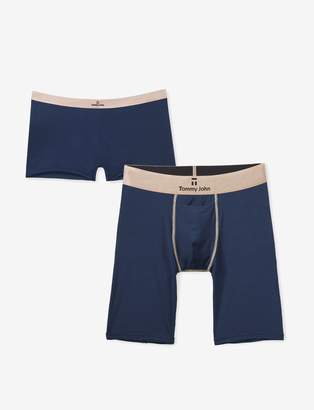 Tommy John His & Hers Second Skin Second Skin Boxer Brief and Boyshort, Dress Blues Rose Gold Pack