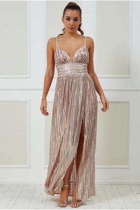 Goddiva Stripe Sequin Maxi Dress with Split - Blush