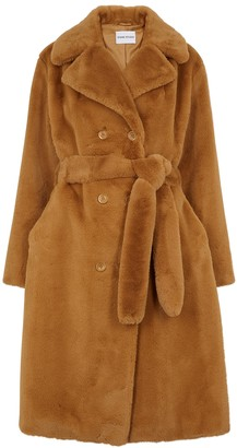Stand Studio Faustine Brown Faux Fur Coat